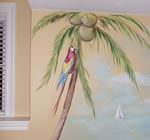 parrot with coconut tree mural