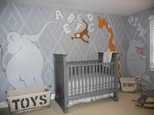 contemporary gray nursery, stencil worlk and jungle mural